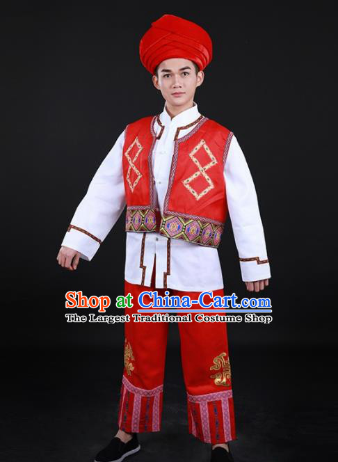 Chinese Traditional Li Nationality Festival Red Outfits Ethnic Minority Folk Dance Stage Show Costume for Men