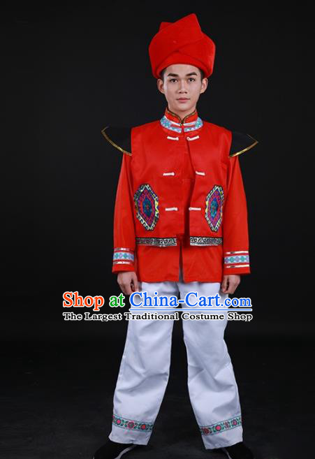 Chinese Traditional Buyei Nationality Festival Red Outfits Ethnic Minority Folk Dance Stage Show Costume for Men
