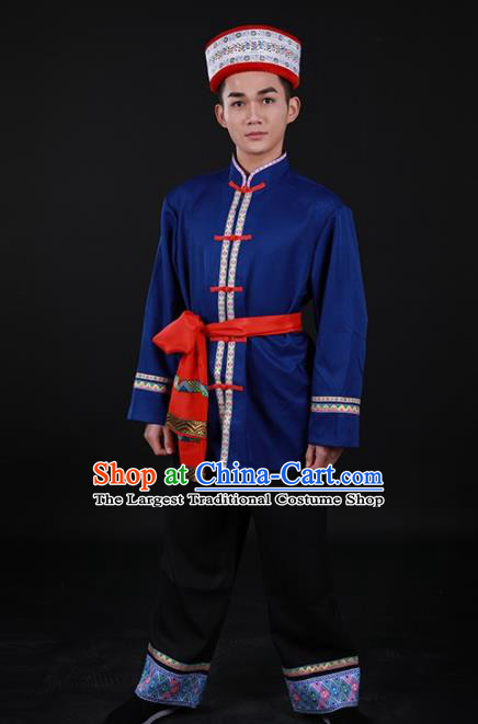 Chinese Traditional Achang Nationality Festival Outfits Ethnic Minority Folk Dance Stage Show Costume for Men