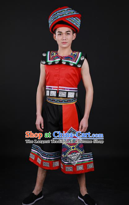 Chinese Traditional Luoba Nationality Festival Outfits Lhoba Ethnic Minority Folk Dance Stage Show Costume for Men