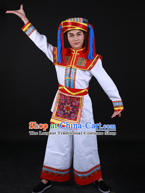 Chinese Traditional Hani Nationality Festival White Outfits Ethnic Minority Folk Dance Stage Show Costume for Men