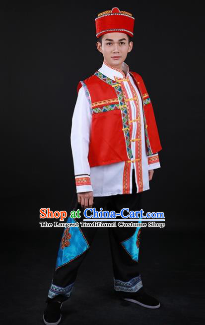 Chinese Traditional Lisu Nationality Festival Outfits Yi Ethnic Minority Folk Dance Stage Show Costume for Men