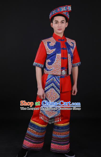 Chinese Traditional Zhuang Nationality Festival Red Outfits Ethnic Minority Folk Dance Stage Show Costume for Men