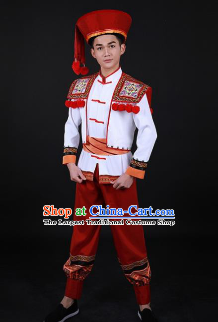 Chinese Traditional Yao Nationality Festival Red Outfits Ethnic Minority Folk Dance Stage Show Costume for Men