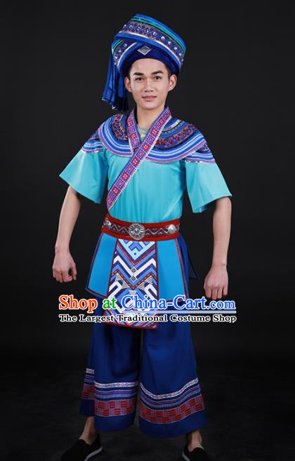 Chinese Traditional Yao Nationality Blue Outfits Ethnic Minority Folk Dance Stage Show Costume for Men