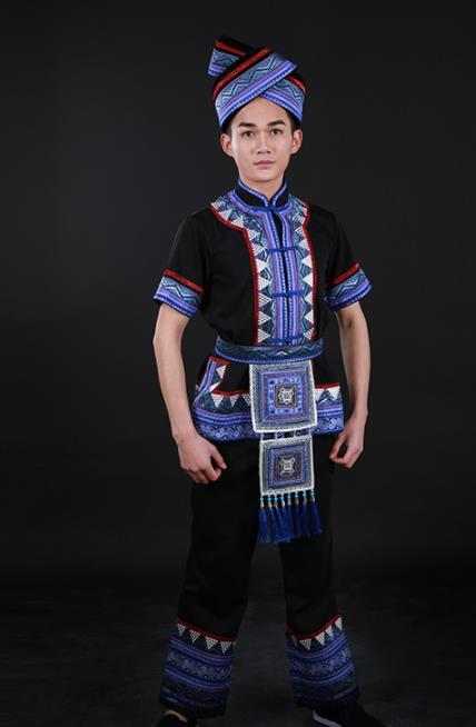 Chinese Traditional Zhuang Nationality Black Outfits Ethnic Minority Folk Dance Stage Show Costume for Men