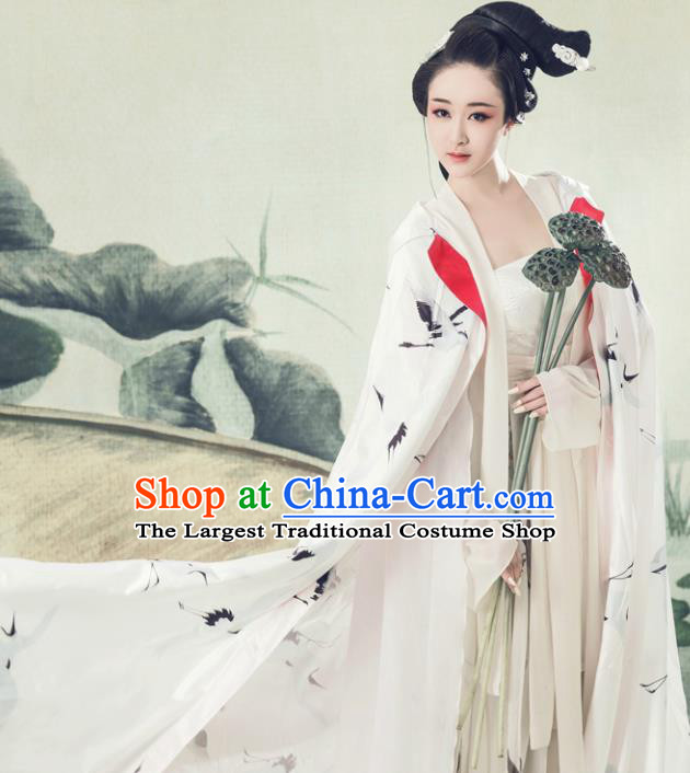 Chinese Ancient Poetess White Hanfu Dress Traditional Song Dynasty Nobility Lady Dance Costumes for Women