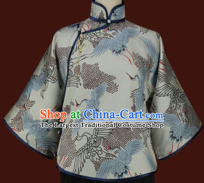 Traditional Chinese Tang Suit Printing Crane Blouse Cheongsam Upper Outer Garment for Women