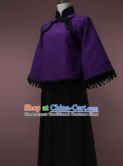 Traditional Chinese Tang Suit Purple Blouse Cheongsam Upper Outer Garment for Women