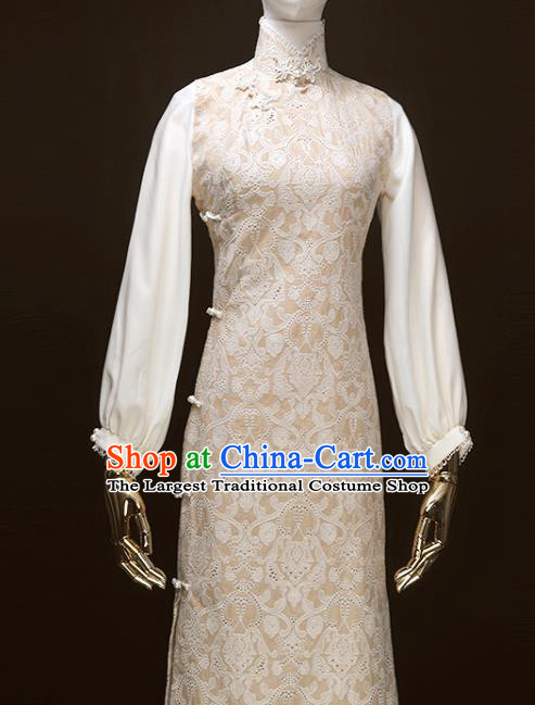 Chinese Traditional Embroidered Beige Cheongsam Costume Republic of China Mandarin Qipao Dress for Women