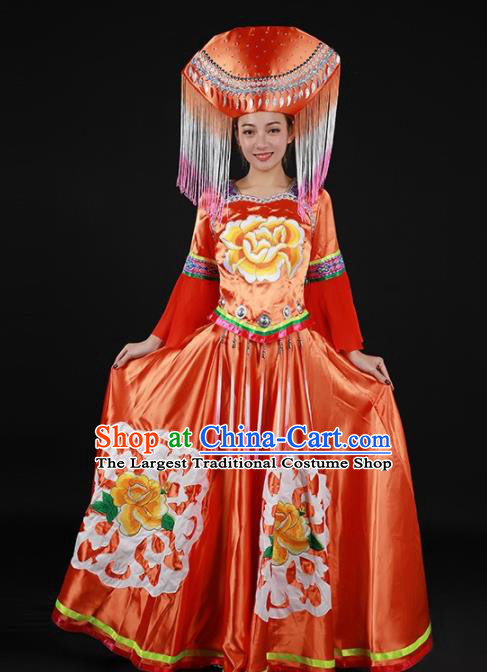 Chinese Traditional Zhuang Nationality Red Expansion Dress Ethnic Minority Folk Dance Stage Show Costume for Women