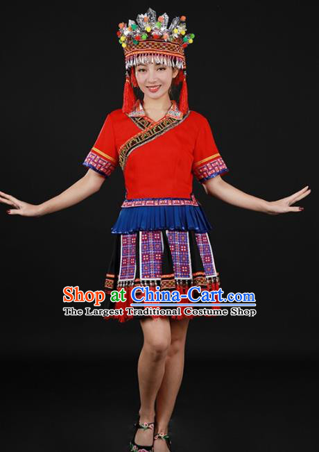 Chinese Traditional Yao Nationality Red Short Dress Ethnic Minority Folk Dance Stage Show Costume for Women