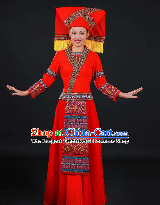 Chinese Traditional Zhuang Nationality Red Long Dress Ethnic Minority Folk Dance Stage Show Costume for Women