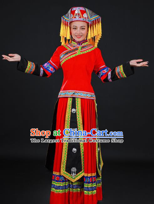 Chinese Traditional Yao Nationality Red Long Dress Ethnic Minority Folk Dance Stage Show Costume for Women