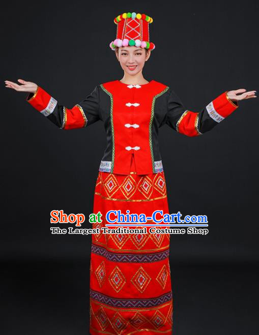 Chinese Traditional Jingpo Nationality Stage Show Red Dress Ethnic Minority Folk Dance Costume for Women