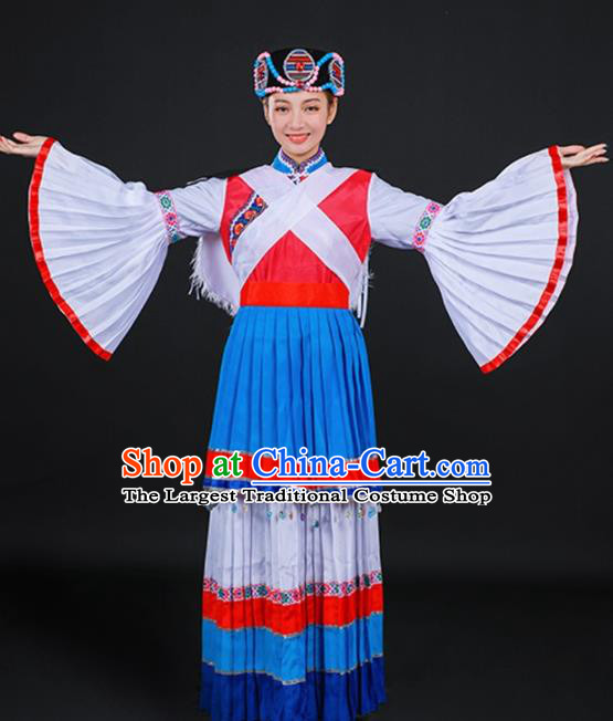 Chinese Traditional Lijiang Naxi Nationality Stage Show Blue Dress Ethnic Minority Folk Dance Costume for Women