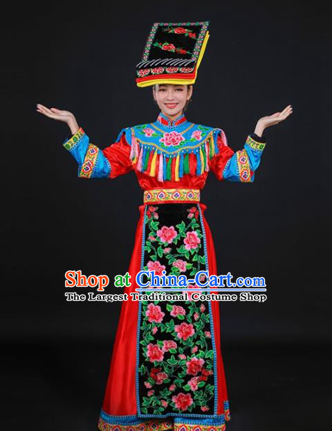 Chinese Traditional Qiang Nationality Stage Show Red Dress Ethnic Minority Folk Dance Costume for Women