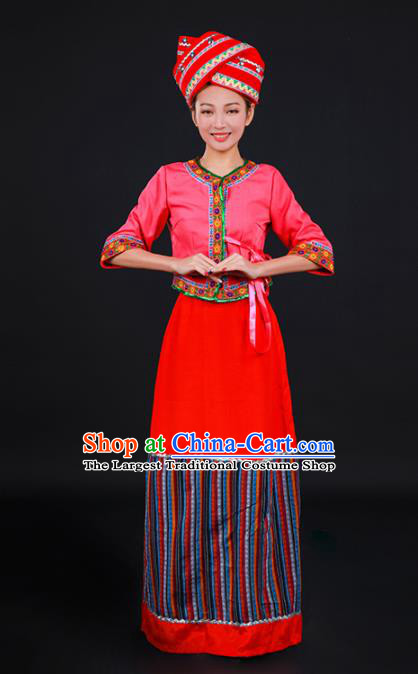 Chinese Traditional Blang Nationality Stage Show Red Dress Ethnic Minority Folk Dance Costume for Women