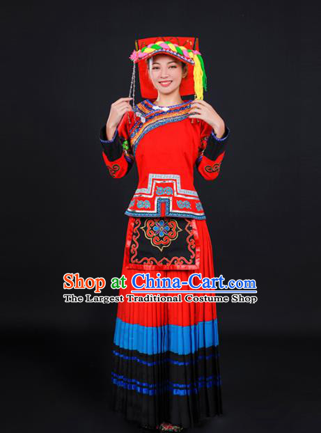 Chinese Traditional Yi Nationality Stage Show Red Dress Ethnic Minority Folk Dance Costume for Women