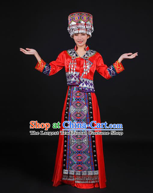 Chinese Traditional Tujia Nationality Stage Show Red Dress Ethnic Minority Folk Dance Costume for Women