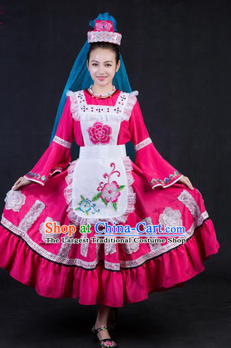 Chinese Traditional Tatar Nationality Stage Show Rosy Dress Ethnic Minority Folk Dance Costume for Women