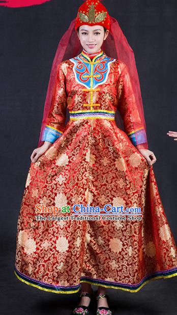 Chinese Traditional Ewenki Nationality Stage Show Wedding Red Dress Ethnic Minority Folk Dance Costume for Women