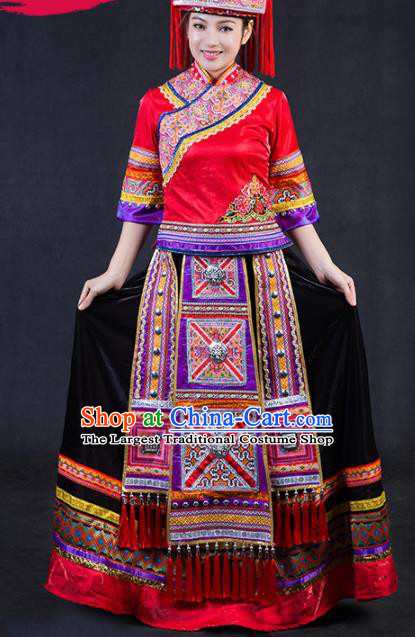 Chinese Traditional Yao Nationality Stage Show Wedding Dress Ethnic Minority Folk Dance Costume for Women