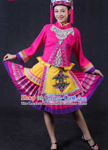 Chinese Traditional Yao Nationality Stage Show Rosy Short Dress Ethnic Minority Folk Dance Costume for Women