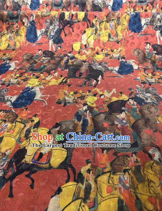 Asian Chinese Traditional Tang Dynasty Pattern Design Red Gambiered Guangdong Gauze Fabric Silk Material