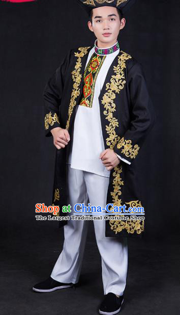 Chinese Traditional Khalkhas Nationality Festival Compere Outfits Ethnic Minority Folk Dance Stage Show Costume for Men