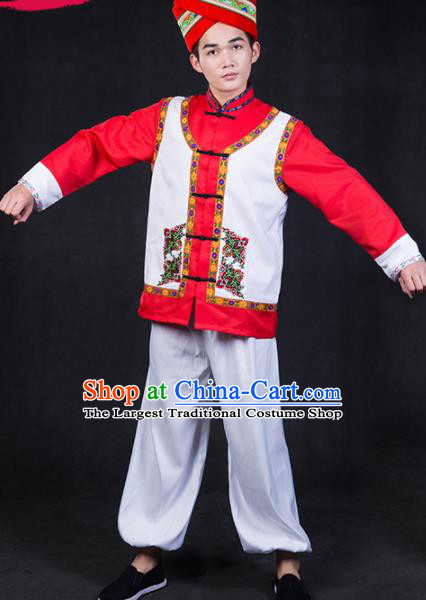 Chinese Traditional Zhuang Nationality Festival Compere Outfits Ethnic Minority Folk Dance Stage Show Costume for Men