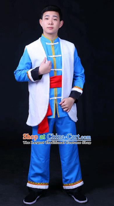 Chinese Traditional Naxi Nationality Festival Compere Outfits Ethnic Minority Folk Dance Stage Show Costume for Men