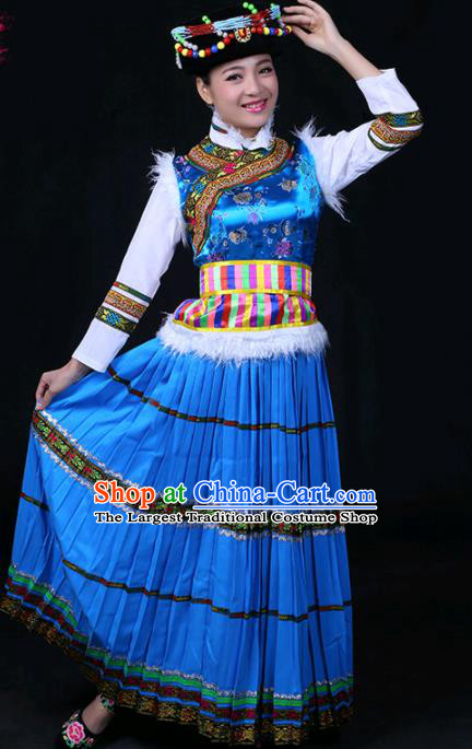 Chinese Traditional Pumi Nationality Stage Show Blue Long Dress Ethnic Minority Folk Dance Costume for Women