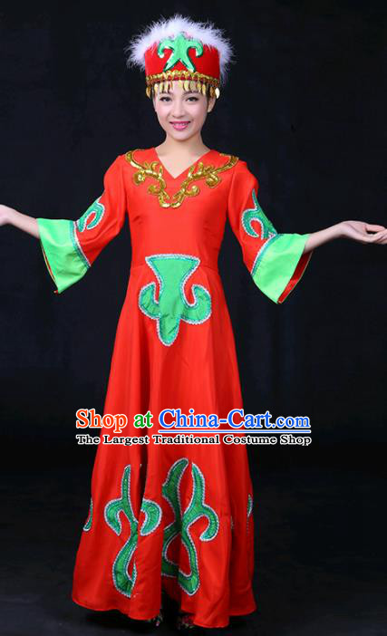 Chinese Traditional Daur Nationality Stage Show Red Dress Ethnic Minority Folk Dance Costume for Women