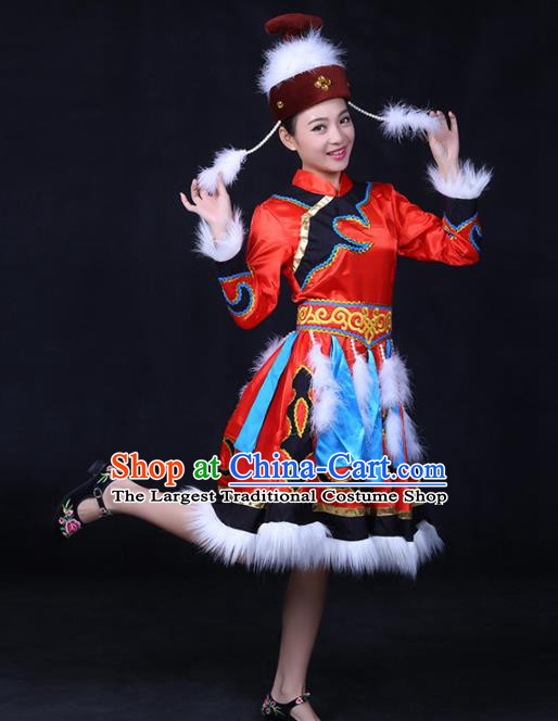 Chinese Traditional Hezhen Nationality Stage Show Red Dress Ethnic Minority Folk Dance Costume for Women