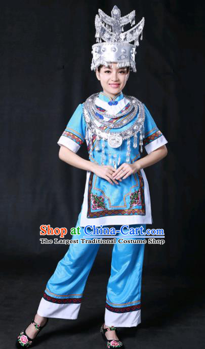 Chinese Traditional Shui Nationality Blue Dress Ethnic Minority Folk Dance Stage Show Costume for Women