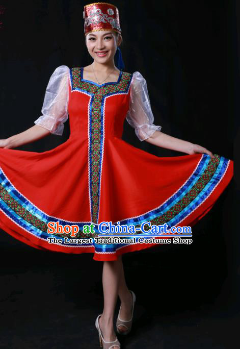 Chinese Traditional Russian Nationality Red Short Dress Ethnic Minority Folk Dance Stage Show Costume for Women