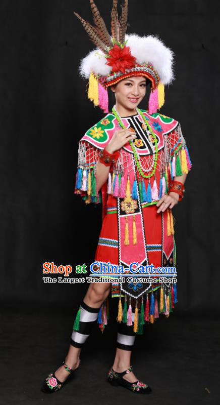 Chinese Traditional Gaoshan Nationality Red Short Dress Ethnic Minority Folk Dance Stage Show Costume for Women