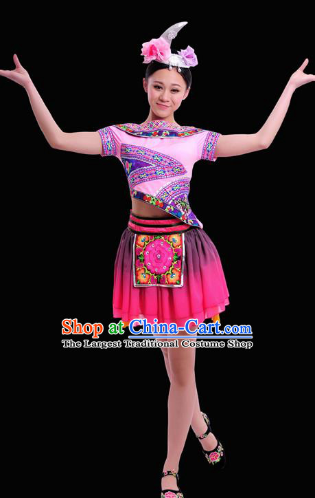 Chinese Traditional Miao Nationality Pink Short Dress Ethnic Minority Folk Dance Stage Show Costume for Women
