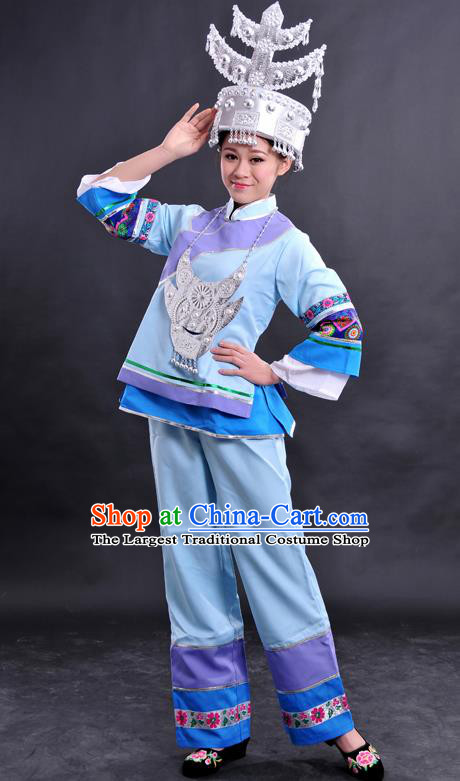 Chinese Traditional Shui Nationality Light Blue Dress Ethnic Minority Folk Dance Stage Show Costume for Women