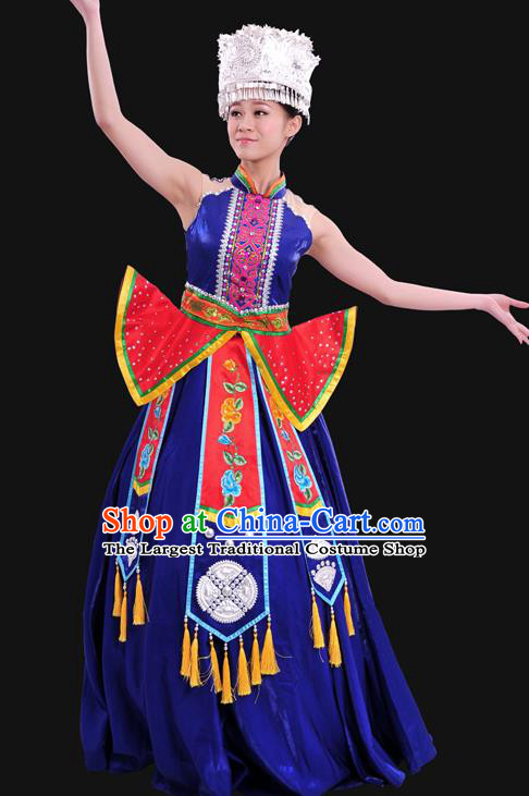 Chinese Traditional Miao Nationality Royalblue Dress Ethnic Minority Folk Dance Stage Show Costume for Women
