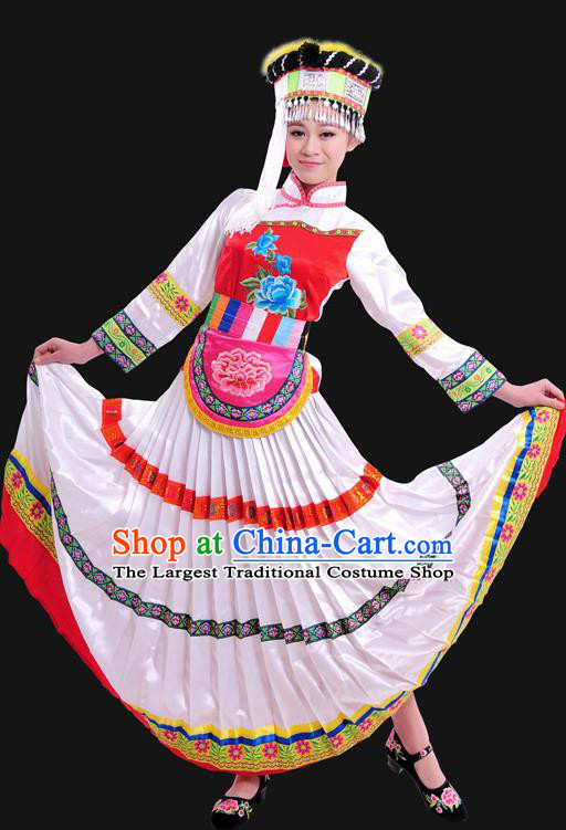 Chinese Traditional Yunnan Lisu Nationality White Dress Ethnic Minority Folk Dance Stage Show Costume for Women