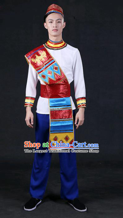 Chinese Traditional Dai Nationality Outfits Ethnic Minority Folk Dance Stage Show Compere Festival Costume for Men