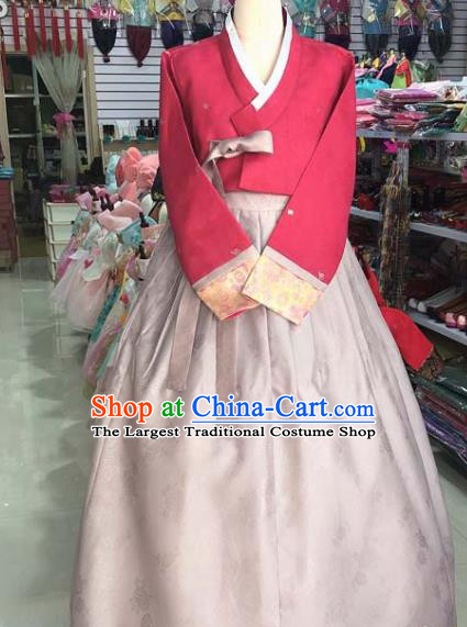Korean Traditional Hanbok Red Blouse and Pink Dress Asian Korea Princess Fashion Costume for Women