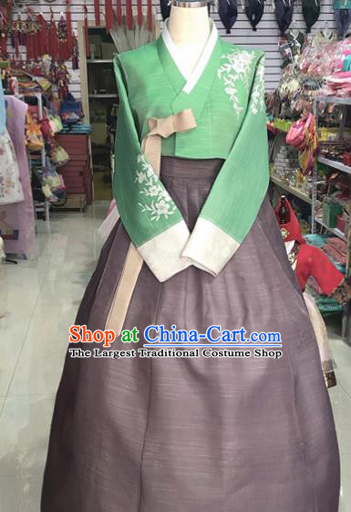Korean Traditional Hanbok Green Blouse and Brown Dress Asian Korea Princess Fashion Costume for Women