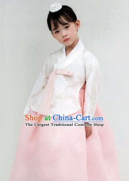 Korean Traditional Hanbok Princess White Blouse and Pink Dress Outfit Asian Korea Fashion Costume for Kids
