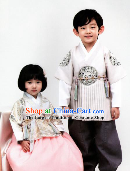Korean Traditional Hanbok Birthday White Outfit Asian Korea Fashion Costume for Kids