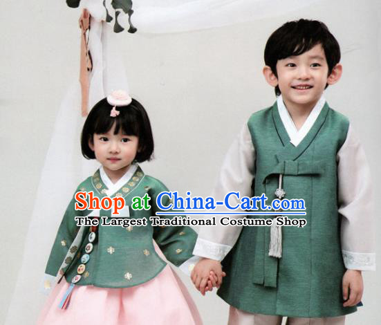 Korean Traditional Hanbok Birthday Green Outfit Asian Korea Fashion Costume for Kids