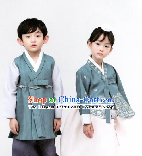 Korean Traditional Hanbok Birthday Blue Outfit Asian Korea Fashion Costume for Kids