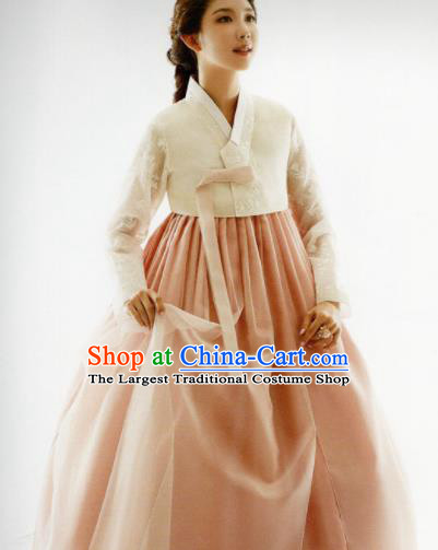 Korean Traditional Hanbok Bride Beige Blouse and Pink Dress Outfits Asian Korea Fashion Costume for Women